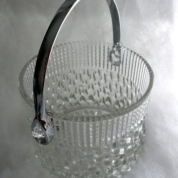 1970s - 1980s - Vintage CRYSTAL ICE BUCKET - Crystal with Chrome Handle - Second Life Use - Crystal Made In France - A Teleflora Collectible