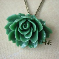 Green Ruffle Rose Cabochon Pendant .. on Luulla