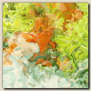 "Large art stretched canvas print, 30x30 to 36x36, abstract expressionism in orange and green, ""Among Friends"""