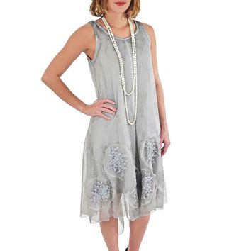 Embroidered Silver Chiffon Shabby Chic Trapeze Dress