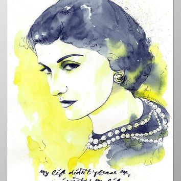 11x14 Coco Chanel poster #A099. Coco Chanel quote.Fashion wall art. Coco Chanel wall art. Coco Chanel art print.Poster of Coco Chanel.Coco Chanel gifts.Yellow wall art.Watercolor painting Inspired.