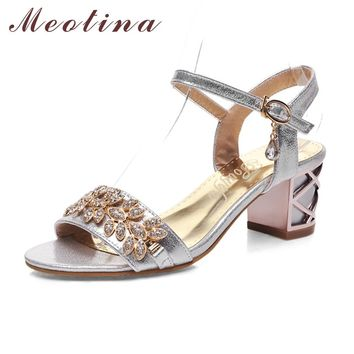 Meotina Shoes Women Sandals Luxury Bridal Shoes Summer Open Toe Party Chunky Heels Rhinestone Sandals Silver Gold Big Size 9 10