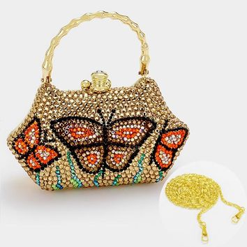 Crystal Butterfly Hard Case Evening Clutch Bag