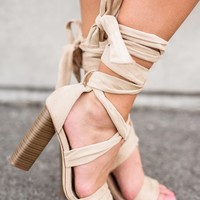 Jessie Lace Up Heels (Nude)