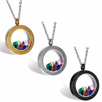 Stainless Steel Silver Gold tone Matte Glasss Round Living Floating Charm Memory Locket Pendant Necklace