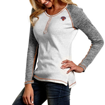 Antigua New York Knicks Womens Celebrity Burnout Long Sleeve Thermal Top - White/Ash
