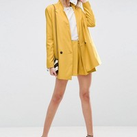 ASOS Double Breasted Soft Blazer & Short in Jacquard Spot Co-ord at asos.com