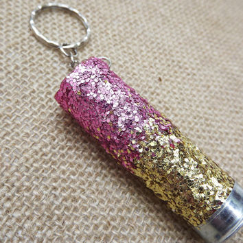 glitter shotgun keychain, ombre glitter keychain, shot gun key chain, girls who hunt, hunting accessories, camo keychain, redneck, country