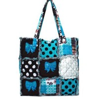 Sequin Cheer Bows Patchwork Polka Dot Tote Bag (brown/turquoise)