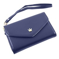 Envelope Wallet Purse Phone Case for Iphone 5, Galaxy S2 s3,blue color
