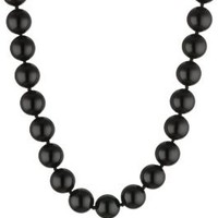 """Sterling Silver 12mm Black Onyx Bead Necklace, 17""""+ 2"""" extender"""