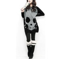 Allegra K Women Long Sleeve Skull T Shirts Loose Blouses Long Tunic Tops