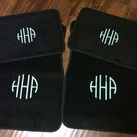 Custom BLACK Personalized Embroidered Monogrammed Car Floor Mats, Set of 4 Mats, New Teen Driver Gift, New Car Present and Accessories