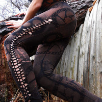 Zombie Apocalypse Goth Industrial Leggings Gears Cogs Steampunk Shredded tights trousers