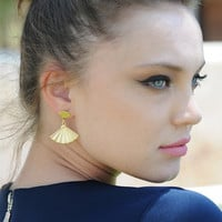 Gold Fan Earrings, Fan Studs,Gold Dangle Earrings, Bridal Earrings, Art Deco Wedding Earrings