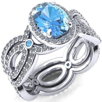 Polaris Oval Aqua Blue Spinel Diamond Halo Full Eternity Aqua Blue Spinel Bezel Diamond Accent Ring
