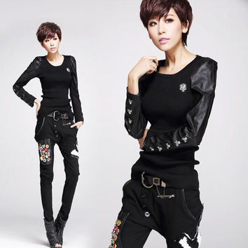 new women's fashion punk skull pu leather patchwork bottoming sweater free shipping