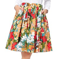 Women Midi Skirt Vintage Rockabilly Skirts Women Pinup 50S 60S Cotton Polka Dot Floral Pattern Skirts Summer
