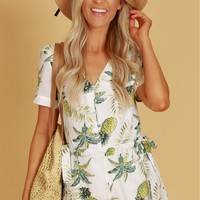 Pineapple Button Romper White
