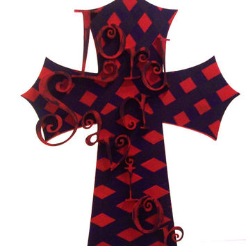 Christian Decor - Wood Wall Cross - Home Decor - Christian Wall Hanging - Beautifully Hand painted Red and Purple Lord and Savior