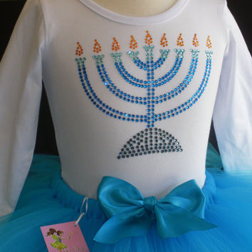 24 mos-2T OR 3T/4T MENORAH rhinestone t-shirt and blue tutu Hanukkah outfit dress