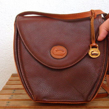 Brown Crossbody Bag by Dooney and Bourke, All Weather Leather, Pebbled Leather, 90s Satchel Purse, Sling Shoulder Bag, Small Messenger