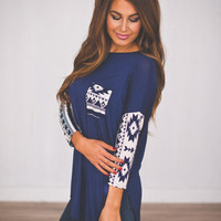 Tribal Sleeve Tunic- Navy
