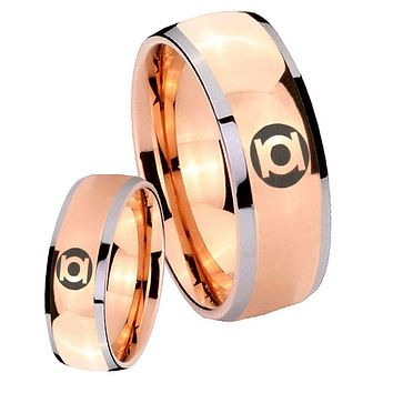 His Hers Rose Gold Dome Green Lantern Two Tone Tungsten Wedding Rings Set