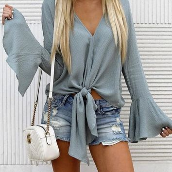 Light Blue Knot Flare Sleeve V-neck Going out Casual Blouse