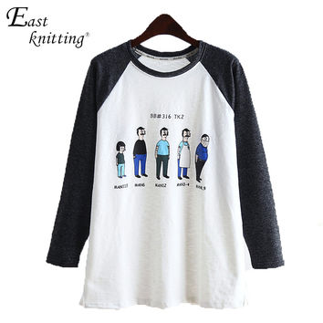 Alien Pattern Patchwork Pullover Fashion Basic Blusas Hoodies Women Sweatshirt Casual