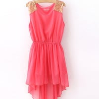 Sequin Shoulder High-Low Chiffon Dress by Shinning