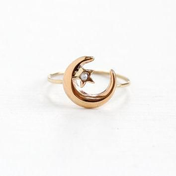 Antique 10k Rose Gold Crescent Moon & Star Seed Pearl Ring - Victorian Stick Pin Luna