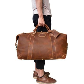 Men's genuine leather travel bag durable Thick crazy horse leather travel duffel Real leather Vintage Retro Look weekend bag