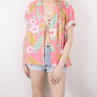 Vintage Pink Tropical Hawaiian Button Up Blouse