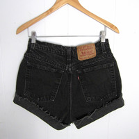 Vintage Levi's High Waisted Cut Off Denim Shorts Mom Jean Black Denim Cuffed 28""