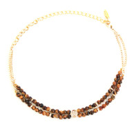 Pen Pal Choker in Tiger's Eye and Gold