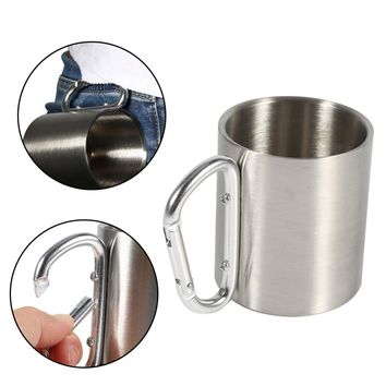 Stainless Steel Portable Mug Travel Camping Hiking Outdoor Sports Water Cups With Handle