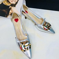 GUCCI:Fashion Bamboo heel Diamond Colorful Double G Pumps Hoolow Sandals Silver