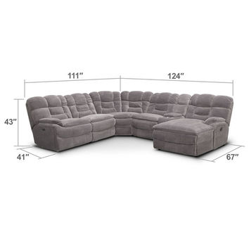 Big Softie 6-Piece Power Reclining Sectional with Right-Facing Chaise - Gray