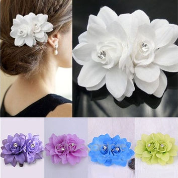 Womens Fashion Flower Hair Clip Hairpin Bridal Wedding Party Hair Accessories [7978671495]
