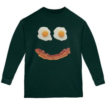 ICIK8UT Mr. Happy Smiley Face Bacon And Eggs Youth Long Sleeve T Shirt