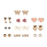Gold Hearts, Love and Flowers Stud Earrings Set of 10