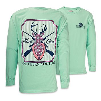 Southern Couture Country Preppy Hunt Club Deer Mint Long Sleeve Girlie Bright T-Shirt