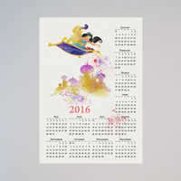 Princess Jasmine Aladdin Disney Calendar Personalized 2016 Watercolor Picture Print Save the date gift New Year present magic carpet