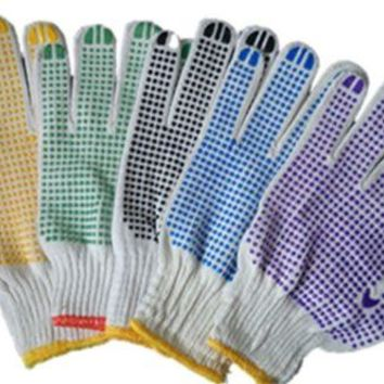 White Cotton Protect Gloves with Anti-slip Point Elastic Knit Wrist Regular Size