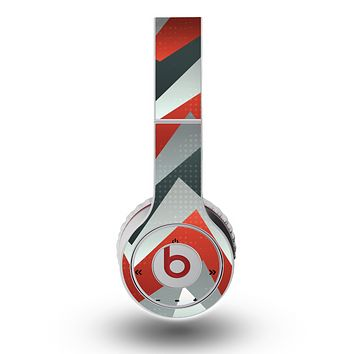 The Abstract Red, Grey and White ZigZag Pattern Skin for the Original Beats by Dre Wireless Headphones