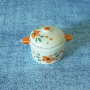 Miniature orange flower pot rice soup pot Miniature pot Tiny pot /pottery /Miniature kitchen utensils/ Dollhouse miniatures