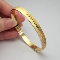Etched Gold Tone Monet Bangle Bracelet, Narrow 7 1/2 inch Gold Bangle, Vintage Signed Jewelry