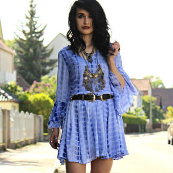 Baby Blue Summer Boho V-neck Bell Sleeve Backless Dress