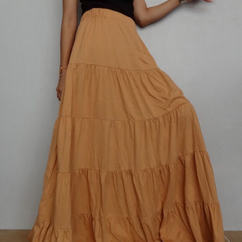 Women Ruffle Long Skirt , Casual Gypsy, Bohemian ,Soft Tangerine Cotton Blend(Skirt *B3).